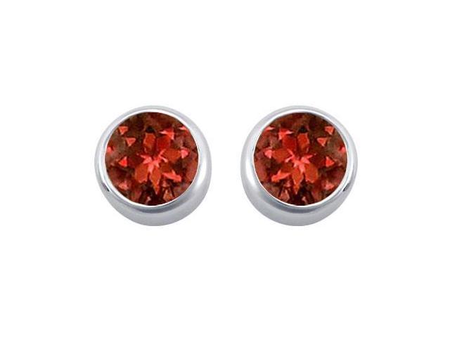 Garnet Solitaire Stud Earrings in 14kt White Gold 2.00.ct.tgw