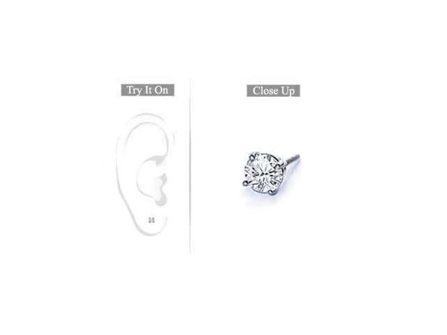 Mens Platinum  Round Diamond Stud Earring  0.15 CT. TW.