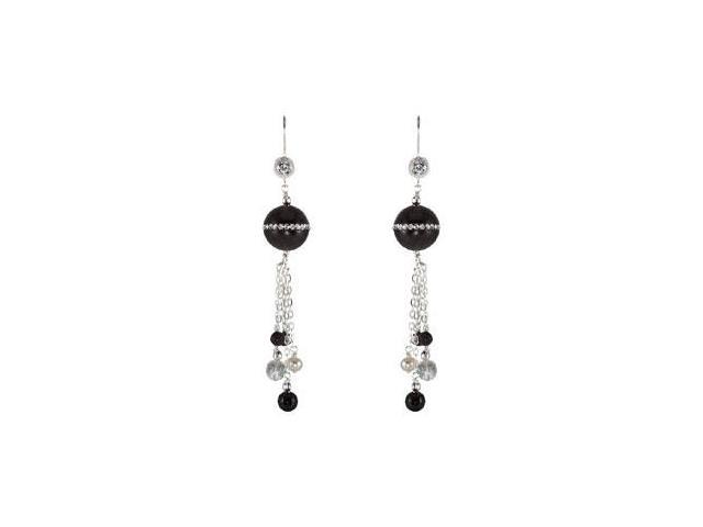 Multi Color Onyx Crystal CZ and Freshwater Pearl Earrings in Sterling Silver 81.00X14.00 MM