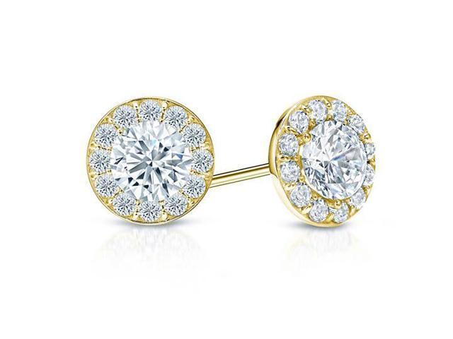 Cubic Zirconia Halo Stud Earrings in 14K Yellow Gold 1.00.ct.tw