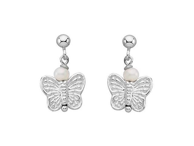 Sterling Silver Youth Pearl and Butterfly Earrings 11.11X09.72 MM