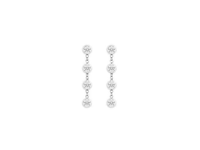 Diamond By The Yard Earrings with Tiffany Inspired Chain in 14K White Gold One Carat Diamonds