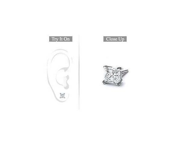 Mens 18K White Gold  Princess Cut Diamond Stud Earring  0.75 CT. TW.
