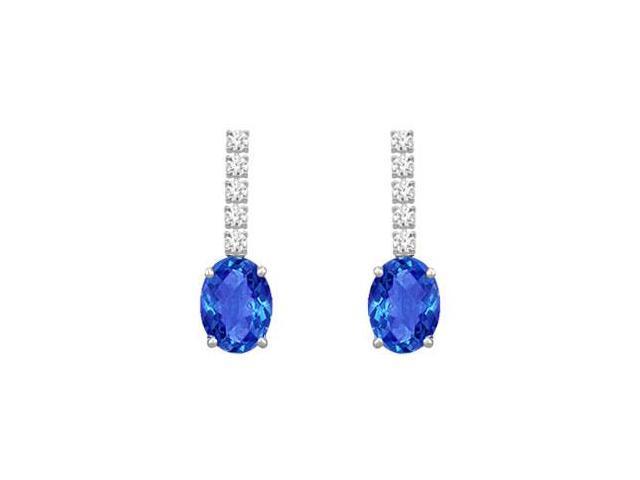 Diamond and Sapphire Earrings  14K White Gold - 1.25 CT TGW