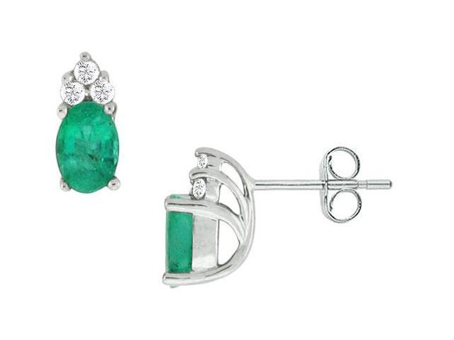 Emerald and Diamond Earrings  14K White Gold - 0.75 CT TGW