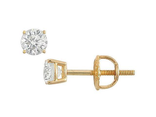18K Yellow Gold  Round Diamond Stud Earrings  0.25 CT. TW.