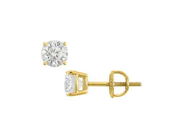 2 Carat CZ Stud Earrings of Brilliant Cut Triple AAA Quality CZ Set in 14K Yellow Gold Mounting