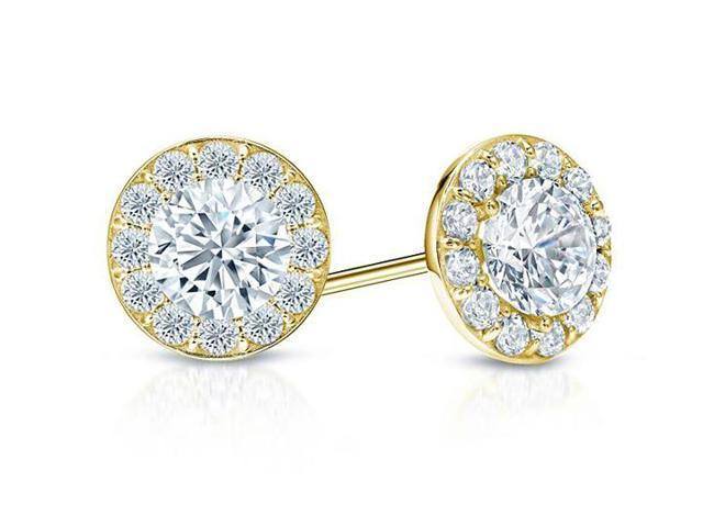 Cubic Zirconia Halo Stud Earrings in 14K Yellow Gold 1.50.ct.tw