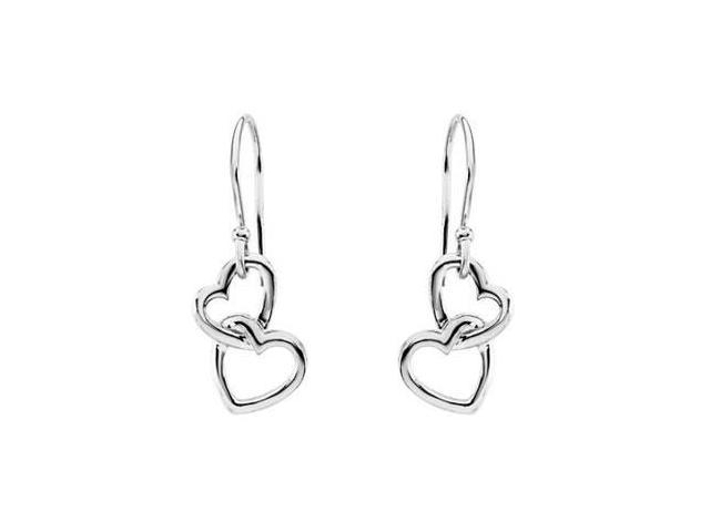 Fashion Love Heart Knot Earrings in .925 Sterling Silver 16.50X9.50 MM