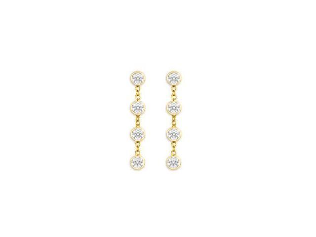 Diamond By The Yard Earrings with Tiffany Inspired Chain in 14K Yellow Gold One Carat Diamonds