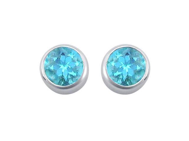 Created Blue Topaz Solitaire Stud Earrings in 14kt White Gold 2.00.ct.tgw