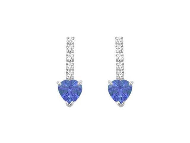 Diamond and Tanzanite Earrings  14K White Gold - 1.25 CT TGW