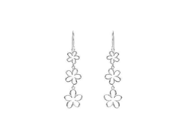 Triple Floral Design Rhodium Plated .925 Sterling Silver Dangle Earrings