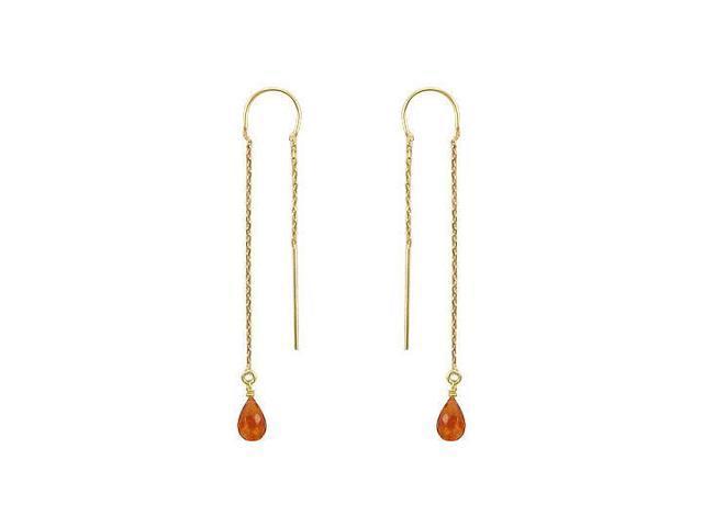 Citrine Thread Earrings  14K Yellow Gold - 2.00 CT TGW