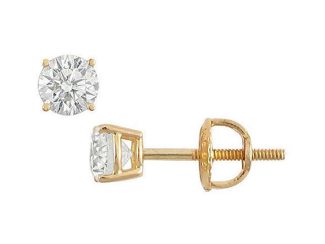 18K Yellow Gold  Round Diamond Stud Earrings  0.33 CT. TW.