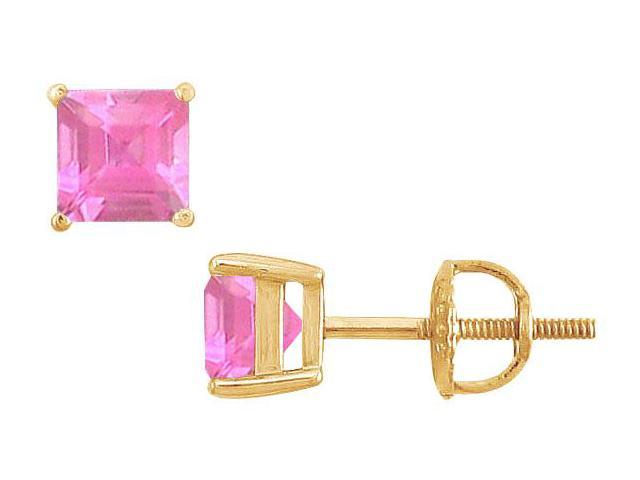 Pink Sapphire Stud Earrings  14K Yellow Gold - 2.00 CT TGW