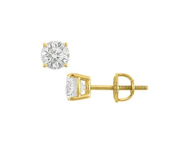 Cubic Zirconia Stud Earrings in 14K Yellow Gold 3 Carat Round Triple AAA Quality CZ