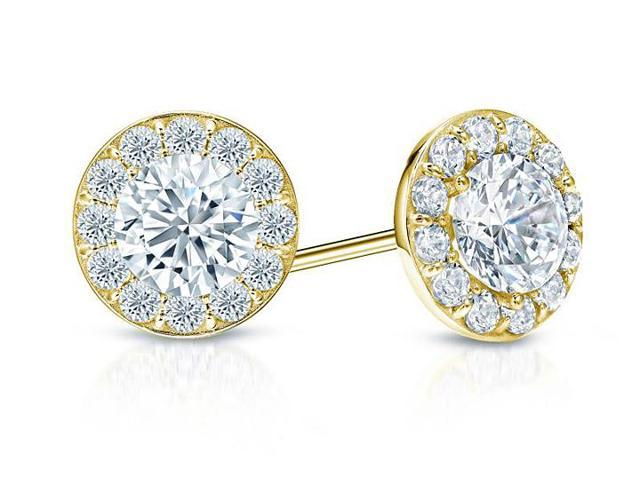 Cubic Zirconia Halo Stud Earrings in 14K Yellow Gold 2.00.ct.tw