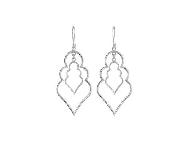 Rhodium Plated .925 Sterling Silver Decorative Earrings 37.00X21.25 MM