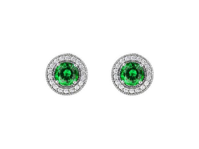 May Birthstone Emerald and CZ Halo Stud Earrings in Sterling Silver 2.50 CT TGW