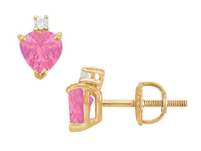 Diamond and Pink Sapphire Stud Earrings  14K Yellow Gold - 2.04 CT TGW
