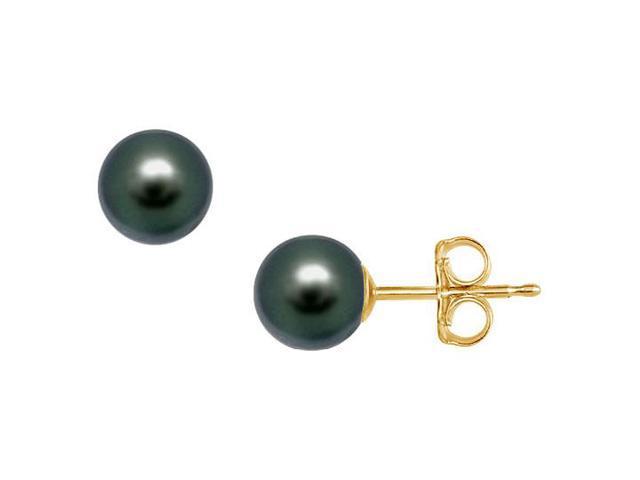 Tahitian Pearl Stud Earrings  18K Yellow Gold  9 MM