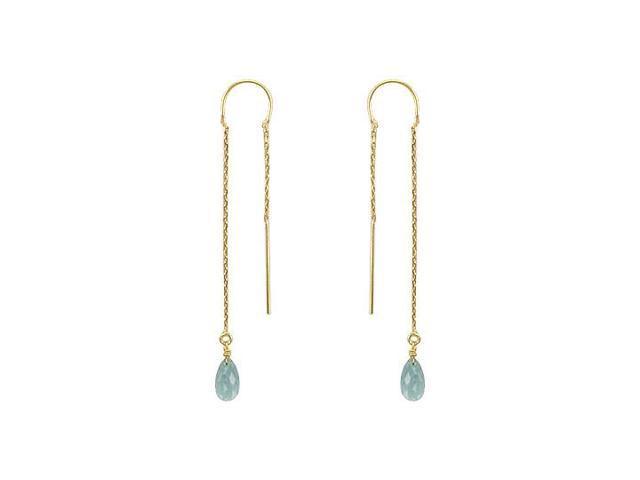Blue Topaz Thread Earrings  14K Yellow Gold - 2.00 CT TGW