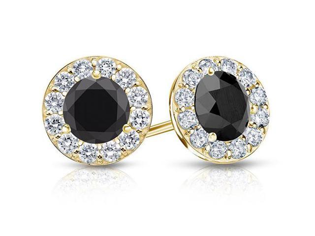 Onyx and CZ Halo Stud Earrings in 14K Yellow Gold 1.00.ct.tw