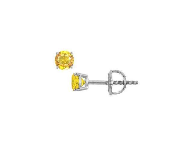 Yellow Sapphire Stud Earrings in 14K White Gold 1.00 Carat TGW