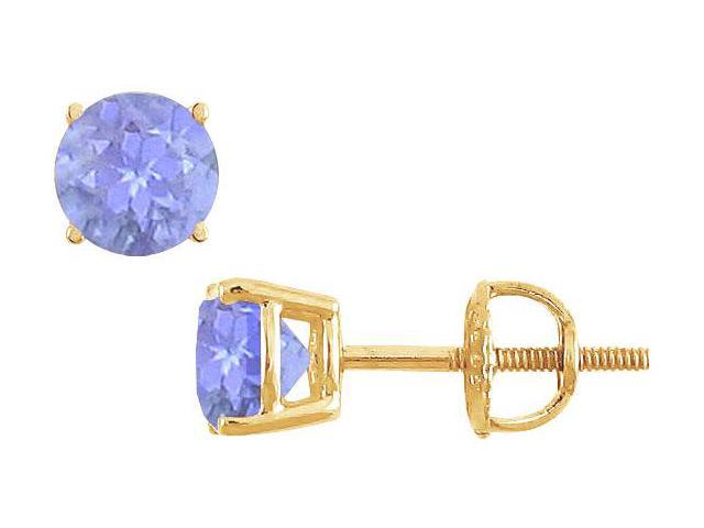 14K Yellow Gold  Prong Set Tanzanite Stud Earrings 1.00 CT TGW