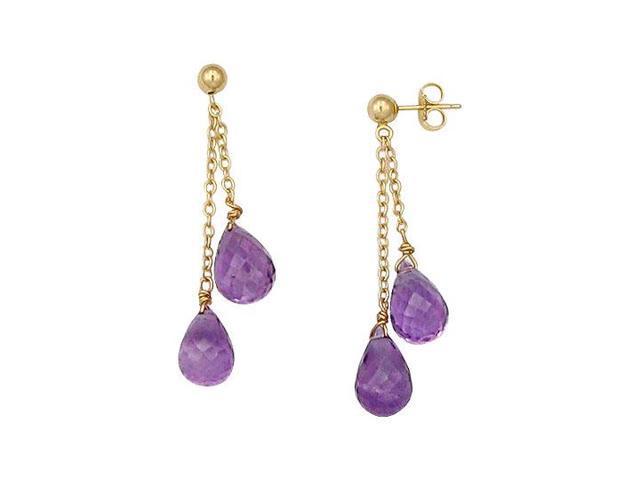 Amethyst Drop Earrings  14K Yellow Gold - 25.00 CT TGW