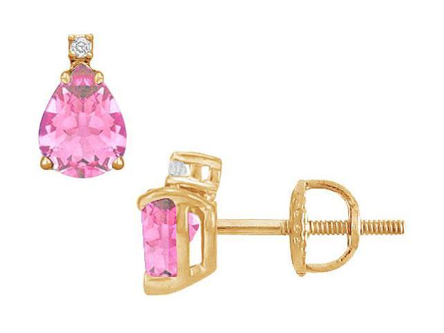 Diamond and Pink Sapphire Stud Earrings  14K Yellow Gold - 2.04 CT TGW