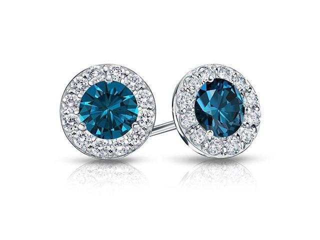 Blue and White Diamond Halo Stud Earrings in 14K White Gold 1.00.ct.tw