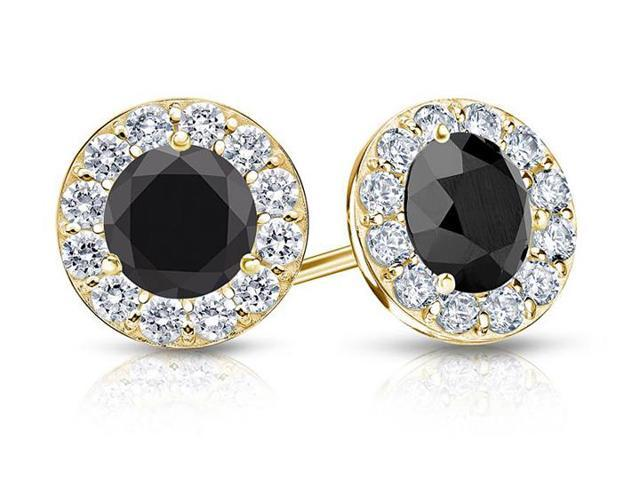 Onyx and CZ Halo Stud Earrings in 14K Yellow Gold 1.50.ct.tw