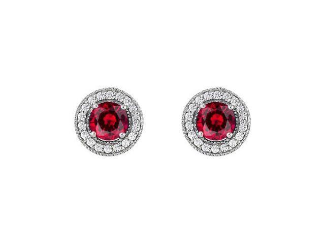 July Birthstone Created Ruby and CZ Halo Stud Earrings in Sterling Silver 2.50 CT TGW