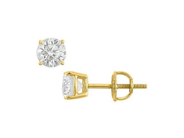 CZ Stud Earrings in 14K Yellow Gold Diamond Type Brilliant Cut AAA Quality CZ 5 Carat Totaling