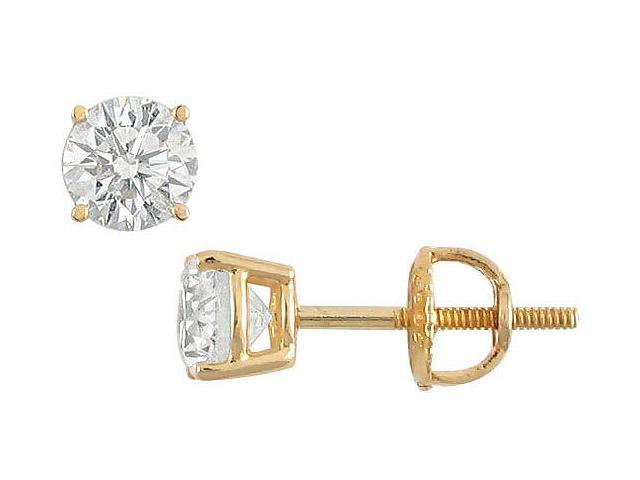 18K Yellow Gold  Round Diamond Stud Earrings  0.75 CT. TW.