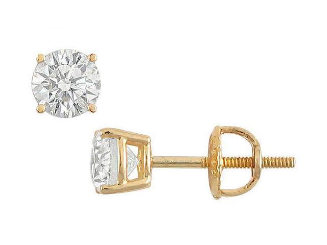 18K Yellow Gold  Round Diamond Stud Earrings  0.75 CT. TW.