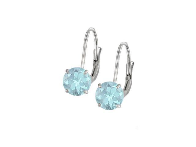 Leverback Earrings in 14K White Gold with Aquamarine Gemstone 2.00 CT TGWPerfect Jewelry Gift