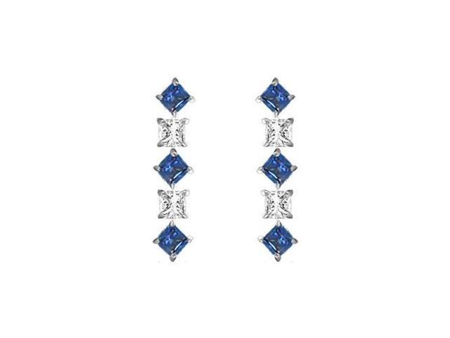 Sapphire and Diamond Earrings  14K White Gold - 0.75 CT TGW
