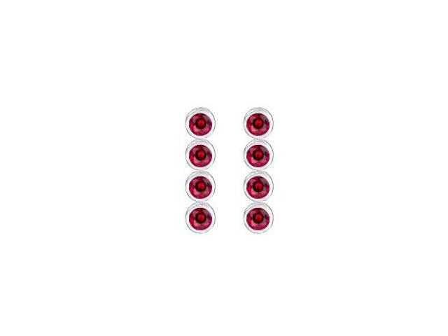 Rhodium Plating 925 Sterling Siver and Created Ruby Drop Earrings in Bezel Set Ten Carat TGW