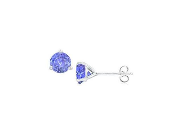 14K White Gold Martini Style Tanzanite Stud Earrings with 0.25 CT TGW