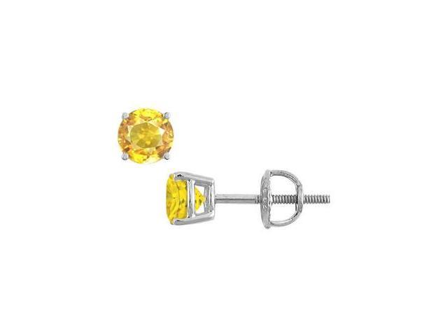 14K White Gold Yellow Sapphire Stud Earrings with 4.00 Carat TGW