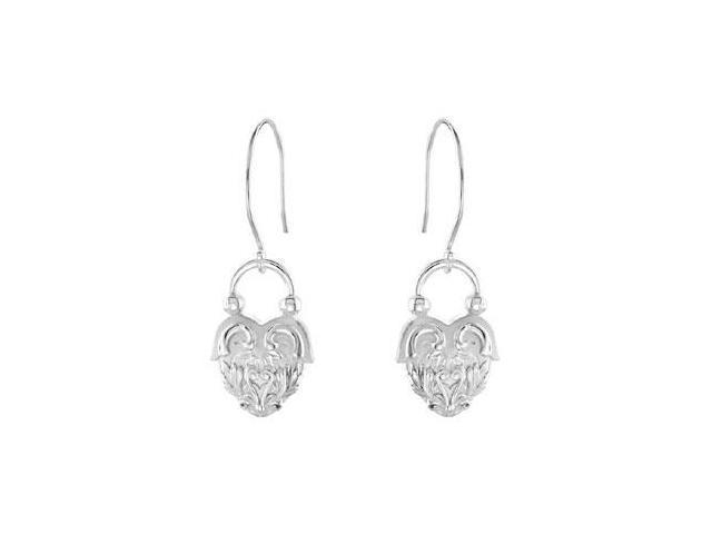 Vintage Inspired Heart Design Rhodium Plated Sterling Silver Dangle Earrings