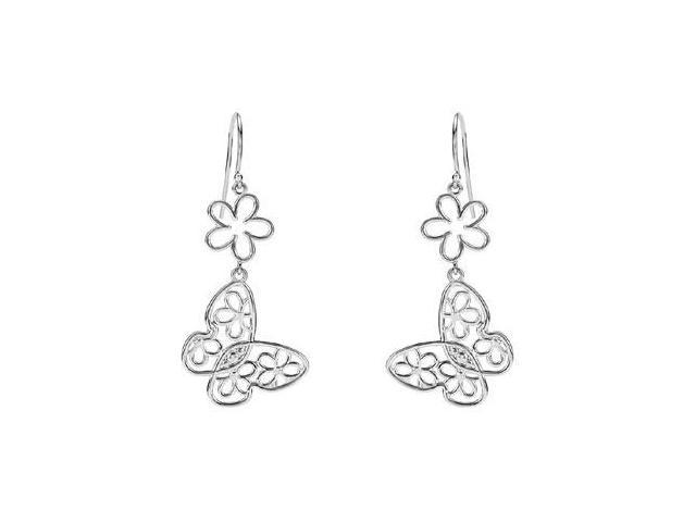 Sterling Silver Butterfly and Floral Design Earrings