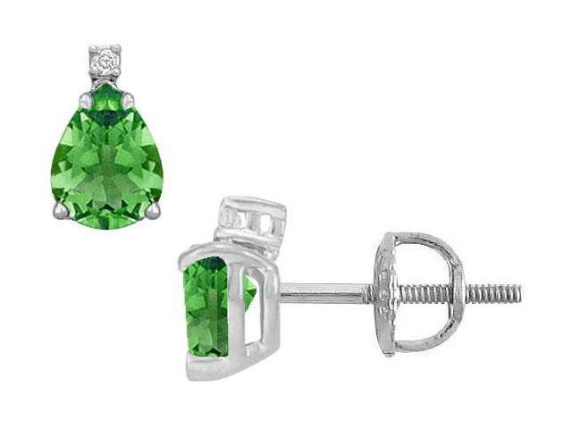 Diamond and Emerald Stud Earrings  14K White Gold - 2.04 CT TGW