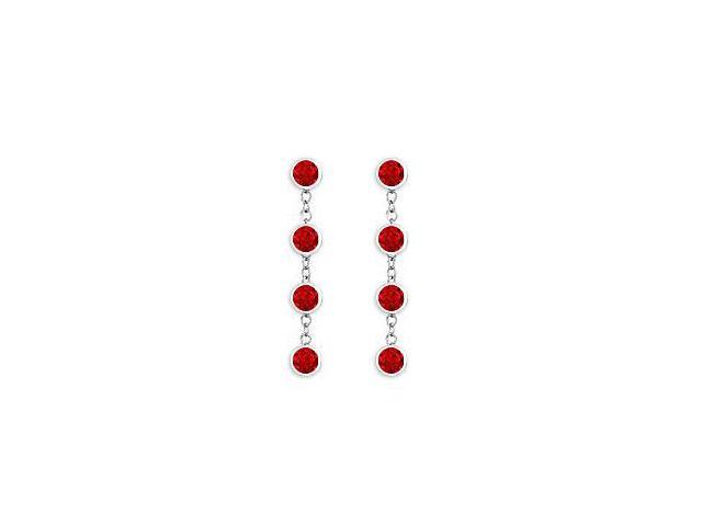 Diamonds By The Yard Ruby Earrings with Tiffany Style Chain in 14K White Gold 1 Carat TGW