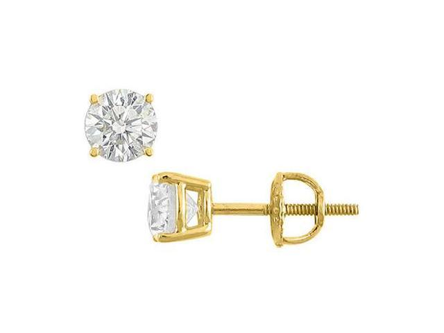 Round Triple AAA Quality Cubic Zirconia Stud Earrings in 14K Yellow Gold 6 Carat Total CZ