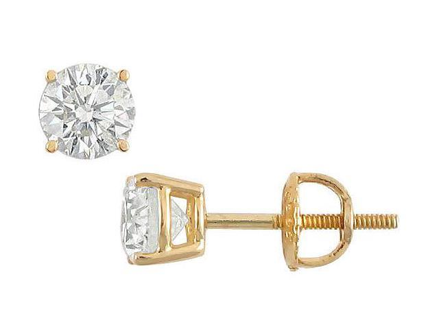 18K Yellow Gold  Round Diamond Stud Earrings  1.00 CT. TW.