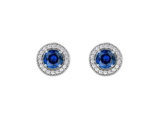 September Birthstone Sapphire and CZ Halo Stud Earrings in Sterling Silver 2.50 CT TGW